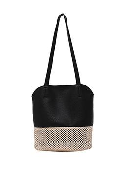 Woven Patchwork Pu 2 Piece Women Shoulder Bags
