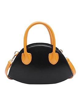 Stitching Color Removable Strap Shoulder Bag With Handle
