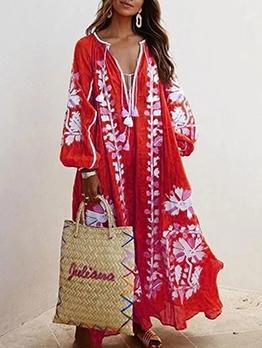 Deep v Loos Printed Long Sleeve Maxi Dress