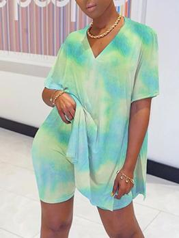 Casual Tie Dye Women Two Piece Shorts Set