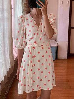 Hot Sale v Neck Polka Dots Wrap Dress