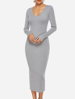 Slim Fit v Neck Long Sleeve Midi Dress