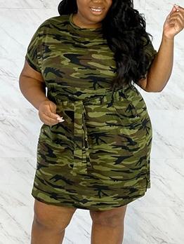Euro Camouflage Tie-Wrap Plus Size Dress
