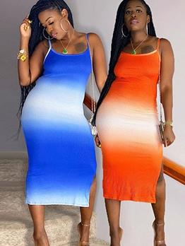 Gradient Color Split Sleeveless Midi Dress