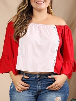 Off Shoulder Flare Sleeve Plus Size Top