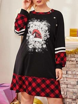 Loose Christmas Print Plaid Long Sleeve Dress