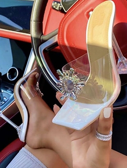 Fashion Goblet Heel Square Toe Rhinestone Slippers