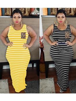 Fashion Casual Striped Plus Size Maxi Dress