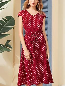 Tie Wrap Short Sleeve Polka Dot Dress For Women