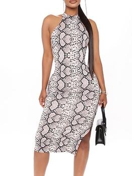Snake Print Split Hem Sleeveless Knee Length Dress