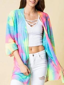 Rainbow Gradient Long Sleeve Sunblock Cardigan Coat