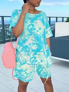 Tie Dye Short Sleeve Casual Two Piece Sets