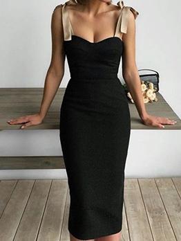 Tie Shoulder Sleeveless Sheath Dress