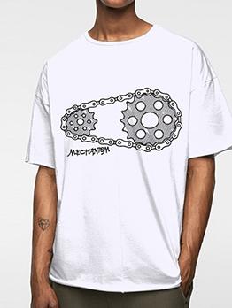 Gear Chain Print Short Sleeve Men Tee Shirts