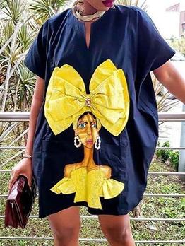 Cartoon Characters Print Short Sleeve Casual Dresses