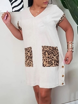 Leopard Pocket Short Sleeve Summer Dresses