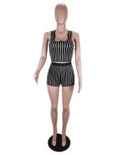 U Neck Striped Crop Top And Shorts Set