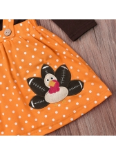Long Sleeve Tee With Polka Dots Suspender Skirt For Girls