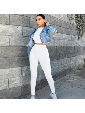 Solid Long Sleeve Crop Tracksuit For Women