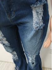 Chic Tassel Hem Ripped Bell Bottom Jeans