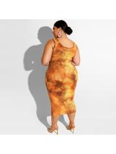 Plus Size Mixed Color Tie Dye 2 Piece Skirt Set