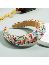 Multicolored Beaded Fabric Spliced Women Hair Band