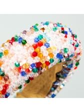 Multicolored Beaded Fabric Spliced Women Hair Band
