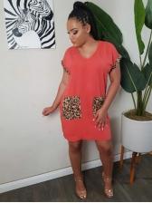 Leopard Pocket Short Sleeve Summer Dresses