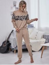 Leopard Patchwork Casual Two Piece Pants Set