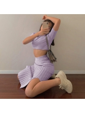 Sexy Knitted Solid Cropped Two Piece Skirt Set
