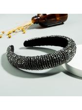 Velvet Hand-Made Beaded Wide Sponge Hair Hoop