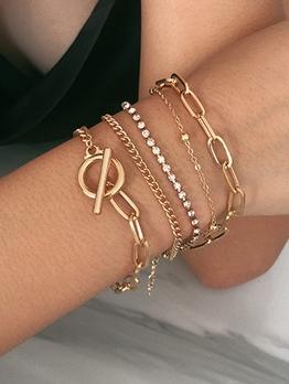 Lady Simple Design Round Bead Layered Bracelet
