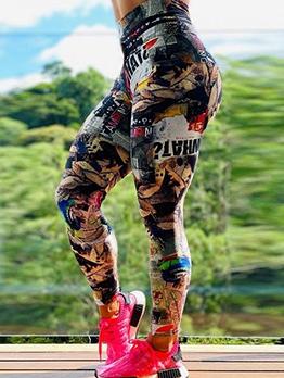 Multiple Pattern Printed Slim Female Yoga Pants