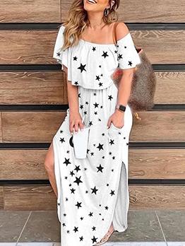 Leisure Solid Women Off Shoulder Maxi Dress