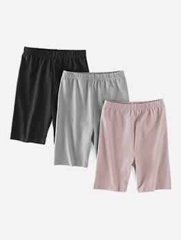 Plain Solid Color Casual Wear Short Pants