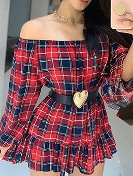 Plaid A-line Long Sleeve Off The Shoulder Dress