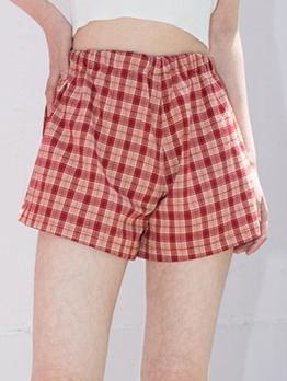 Plaid Elastic Waist Short Pants Casual Wear
