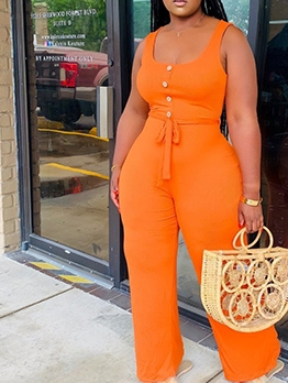 Single-Breasted Pure Color One Piece Jumpsuit