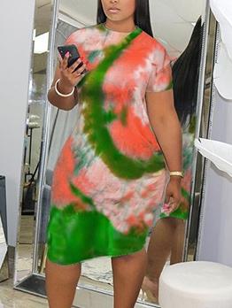 O Neck Tie Dye Short Sleeve Plus Size Dresses