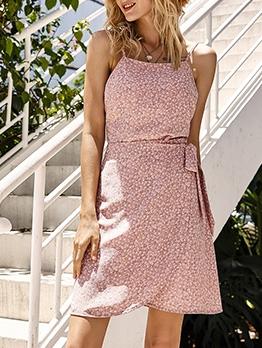 Fashion Tie Wrap Floral Sleeveless Dress Women