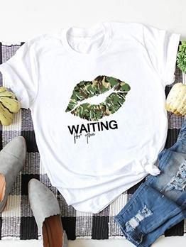 Camouflage Lip Printing T Shirt Plus Size