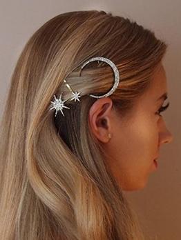 Sweet Star And Moon Rhinestone Hair Accessory