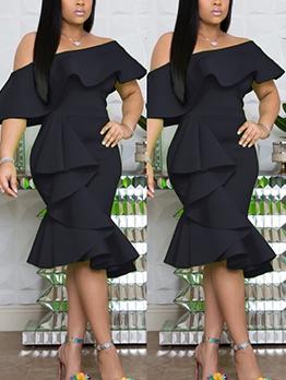 Solid Color Ruffled Off Shoulder Dress