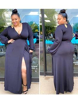 Solid Long Sleeve Split Plus Size Maxi Dresses