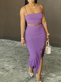 Solid High Split Crop Top And Skirt Set
