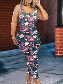 U Neck Cartoon Printed Sleeveless Maxi Dress
