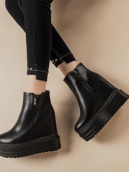 Winter Solid Round Toe High Platform Boots