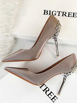 Satin Patchwork High Heel Wedding Pumps Shoes