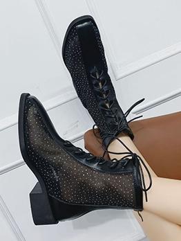 Vintage Solid Chunky Heel Ladies Boots