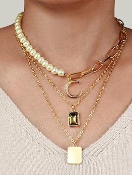 Three Layer Faux Pearls Crescent Rhinestone Pendant Necklace